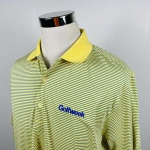 Donald Ross Large Golf Polo Shirt Yellow Striped